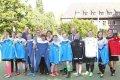 Frauenfußballmannschaft der Hephata Werkstätten Mönchengladbach mit DFB-Trikots der Frauennationalmannschaften