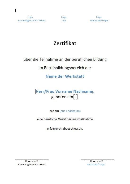 BAG WfbM - Bundeseinheitliche Zertifikate für den ...